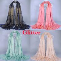 Glitter scarf women's printe solid color plain fashion shawls long hijab head long muslim scarves/scarf 10pcs/lot