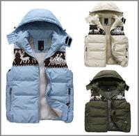 2014 new winter men's vest,patchwork with a hood sleeveless vest lovers casual cotton down vest,S--XXXL,Elk,2014 warm winter