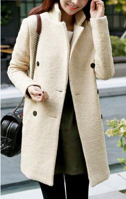 осень-зима толстым пальто, двубортный отложным воротником