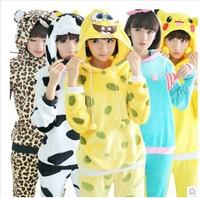 2014 Autumn Winter Flannel Couple Hooded Long Sleeve Pajamas Elephant Women/Men Cartoon Pajama Sets Princess Sleepwear Plus Size