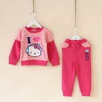 New fashion baby girls clothing sets cute kitty spring autumn girls clothing kids long-sleeve coat pants sets child outwear