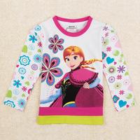 Retail Nova Kids Wear Girl Fashion Flower Printed Flower Applique Clothing Frozen Anna Baby Girl Long Sleeve T-Shirts F5443