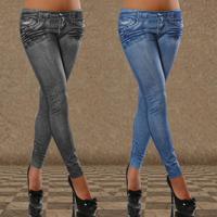 New Women Sexy Tattoo Jean Look Legging Sport Leggins Punk Fitness American Apparel Jeans Woman Pants 9064