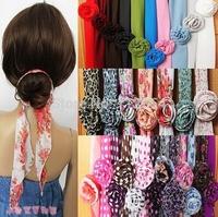 Free Shipping+Wholesale chiffon magicaf scarf magic  scarf belt hair band accessory cap,100pcs/lot