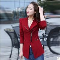 6417 2014 autumn women's zipper slim medium-long small suit jacket female blazer
