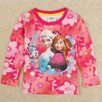 Retail FREE SHIPPING Nova kids wear girl fashion spring clothing applique Frozen kid long sleeve T-shirt children top tees F5545