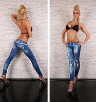 New Women Sexy Tattoo Jean Look Legging Sport Leggins Punk Fitness American Apparel Jeans Woman Pants 9059