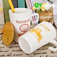 High quality bone china mug Vintage ceramic time mug with lid  and spoon coffee tea & milk lovers cup  free shipping