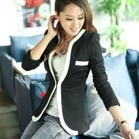 6418 2014 autumn black and white fashion slim suit jacket female