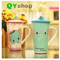 Cup cartoon lovely elephant t ceramic cup with cover fashion tea milk & coffee mug High quality bone china mug free shipping