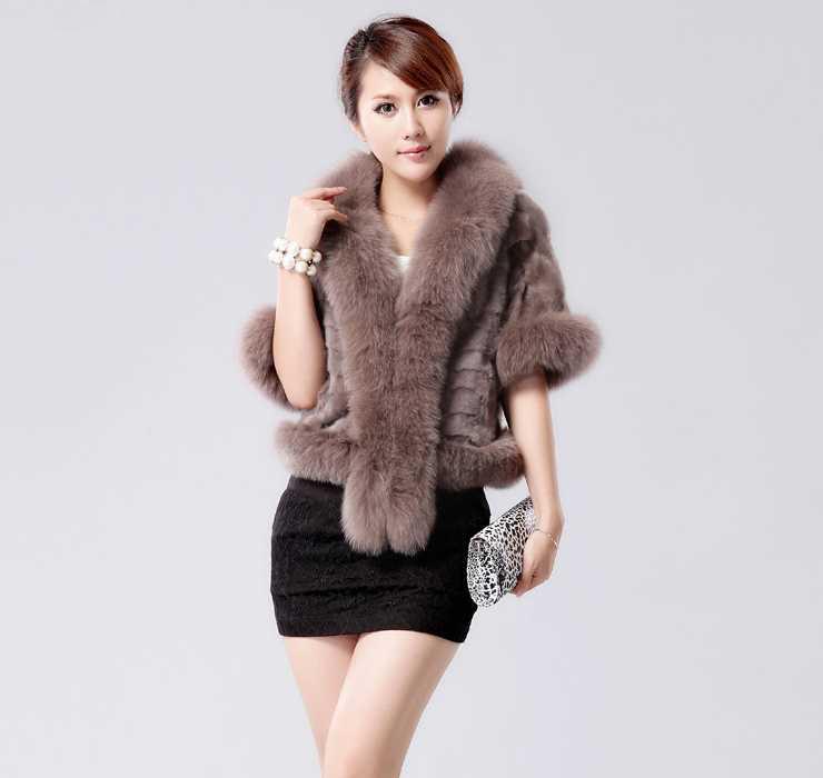2014 Winter Women Faux Mink Fur Spliced Mink Velvet Coat Hooded Fox Fur Collar(China (Mainland))