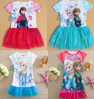 Frozen baby girl dress princess party dress wholesale kids clothing cotton children dress cartoon free shipping