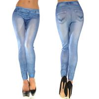 New Women Sexy Tattoo Jean Look Legging Sport Leggins Punk Fitness American Apparel Jeans Woman Pants 9063