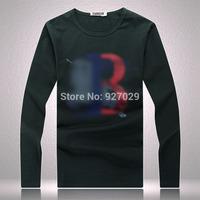 2014 Brand New Fashion Mens Flag Tees T Shirts 100% Cotton Casual Designer PLaid Long Sleeve T-Shirts Classic For Men's T Shirt