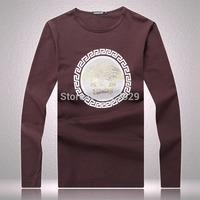 2014 Brand New Fashion Mens Flag Tees T Shirts 100% Cotton Casual Designer Printed Long Sleeve T-Shirts Classic Men's T Shirt