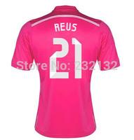 Top Quality 14/15 Real Madrid #21 Marco Reus Away jerseys Pink shirt 2014/2015 Cheap Soccer Uniforms Football kit