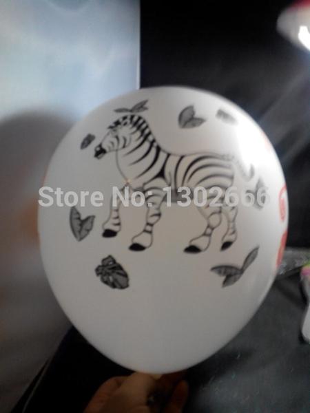 200 pces 12 polegadas zebra leão macaco animal elefante impressão balão branco 2.35g por peça(China (Mainland))