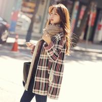 6581 women's medium-long plaid loose sweater cardigan female sweater outerwear