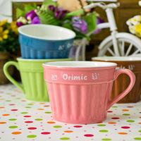 High quality bone china mug 4 style candy color ice cream ceramic mug milk &coffee cup pudding cup free shipping