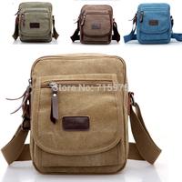Sales Men's Retro Casual Canvas Leather Shoulder Bag Messenger Travel bag Men canvas bag free shipping