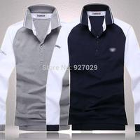 2014 Brand New Mens Fashion Tees T Shirts Casual Classic Luxury Designer Emboroidery Pique Long Sleeves T-Shirts Men's T Shirt
