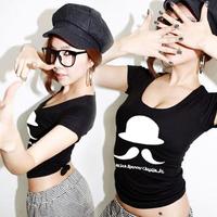 2014 summer slim sexy female big u short-sleeve tight-fitting crop top t-shirt basic shirt top