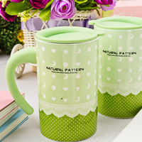 Lace polka dot lovers cup ceramic cup pair a lot mug  with lid High quality bone china mug free shipping