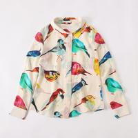 Europe and America vintage elegant silk colorized bird print long sleeve women shirt autumn