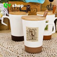 Vintage stamp mug ceramic mug coffee cup for zakka creative cup with lid and spoon High quality bone china mug  free shipping