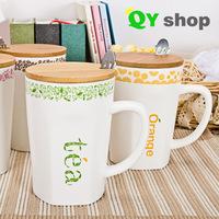 Lovely mug fashion cup drinks milk orange coffee tea  ceramic cup with lid and spoon High quality bone china mug free shipping