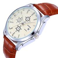 New 2014 Men luxury Leather Strap Fashion Casual Quartz Wristwatch Clock Male Date display Relogio Masculino reloj hombre montre