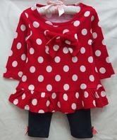 new baby girls longsleeve dress suit 2014 autumn carters christmas polka dot bowknot dress+pants 2-piece set girl's clothing set