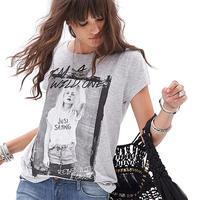 Richcoco im a wild one print o-neck short-sleeve cotton t-shirt d522