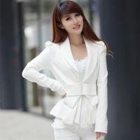6032 2014 autumn fashion white large bow slim long-sleeve small suit jacket
