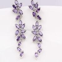 Perfect 18K White Gold GF Ladies flower Amethyst Dangle earrings Jewelry Xmas Gift