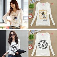 New Design Women Autumn Winter Long/Full Sleeve Knitwear T-Shirts Brand 2014 Girls Thick Punk Tops Tee T Shirt Women cloths s1
