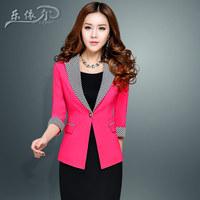 Fashion Women Slim Blazer Plaid Mix Colors Female Coat Single Button OL Desigual Cardigans Blaser for Femininos Autumn W031