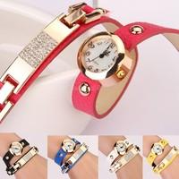 Hot sale Vintage women watches leather Wrap Rivet Bracelet wristwatches watch 4 colors B19 SV007990