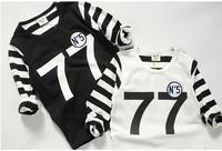 2014 autumn new arrival fashion wholesale 5pcs/lot 100% Cotton striped number 77 cartoon top tee children kids girl boy t shirts