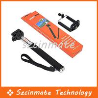 Free shipping Self-timer Mobile Phone Extendable Ski Pole Handle Telescopic Monopod With Tripod Mount 50pcs/lot Wholesale