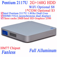 Small Desktop Computer thin client Intel Pentium 2117U Dual Core with Fanless Full Aluminum Ultra Thin Chassis 2G RAM 160G HDD