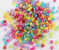 500pcs 5bags/lot  Multicolor 6mm Candy colors Transparent Alphabet Beads Charms For DIY Loom Rubber Bands Bracelets CB8063