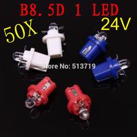 Free shipping 2014 new 50X LED T5 B8.5D 24V xenon WHITE INTERIOR DOME LIGHT BULB/LAMP/BULB Auto Interior Packing Car Styling