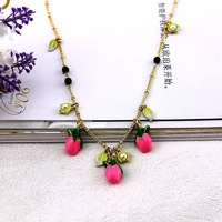 fashion necklaces 2014 hot selling Three-dimensional multiple enamel roses Upscale atmosphere girls love best