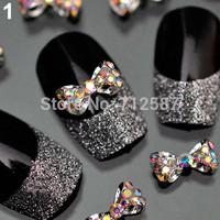 10pcs Nail Art Tips Stickers Deco Bow Knot Alloy Jewelry Multicolor Glitter Rhinestone nail gel