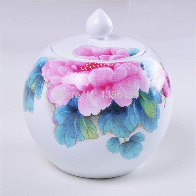 Ding pastel peony tea Jingdezhen Ceramic Canister Coffee pot Sugar Bowl Seasoning cans 1000ml(China (Mainland))