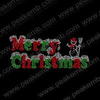 Free Shipping 50pcs/Lot Merry Christmas Iron On Rhinestone Transfers Hot Fix Design