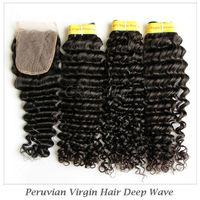"Peruvian Virgin Human Hair Extensions 1 Piece Lace Closure with 3Pcs Hair Bundle,4pcs/lot,,Deep Wave 12""-28"" DHL Free shipping"