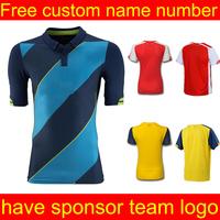 Soccer jersey 2015 camiseta shirt blue jersey football shrit   black jersey top Quality