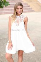 957 Hot Sexy Chiffon Dress Lace Hollow Out Backless  XS~XL Plus Size Sleeveless Tops White Black Women Dress